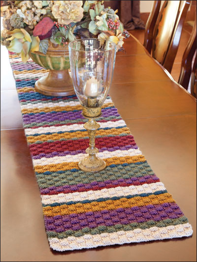 Knit a table runner with rustic country appeal for Table knitting