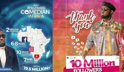 AY comedian claims he's the most followed comedian in Africa