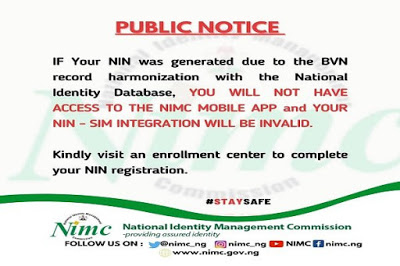 BVN-generated NIN invalid without update –NIMC