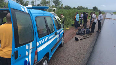Three crushed to death as container falls on commercial bus