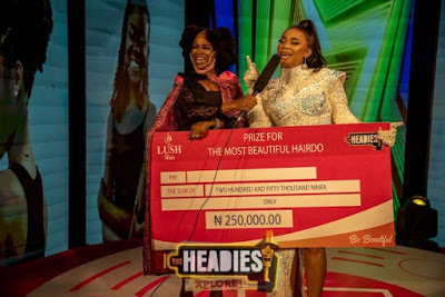 Actress Iyabo Ojo wins best hairdo at The Headies