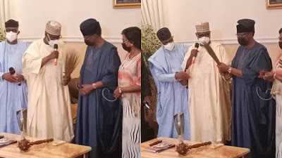 Photos: Moment Northern Governors in Ogun for herdsmen discussion stormed Daniels' house to welcome him to APC