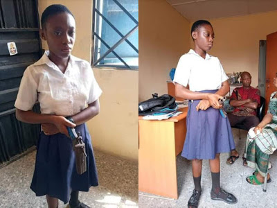 Shocking photos: Female student in Cross River allegedly goes to school with a gun to kill teacher who asked her to cut her coloured hair