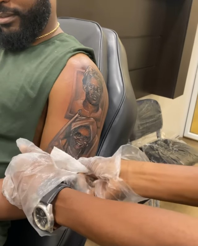 Falz gets tattoos of parents, sister, his face on his arm