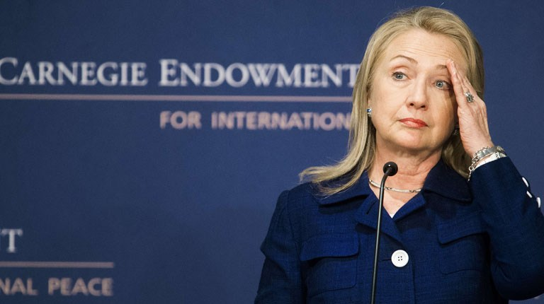"""US Secretary of State Hillary Clinton delivers remarks on the """"State of International Religious Freedom"""" July 30, 2012 at the Carnegie Endowment for International Peace in Washington, DC (photo: AFP /Paul J. Richards)"""