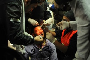 A protester receives treatment at a field hospital established near Tahrir Square during clashes on Mohammed Mahmoud street in November 2011 Laurence Underhill / DNE