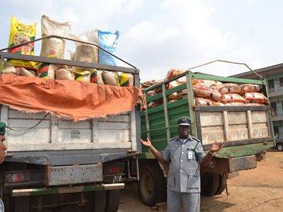 Customs intercepts Dangote trucks with 365 bags of smuggled rice