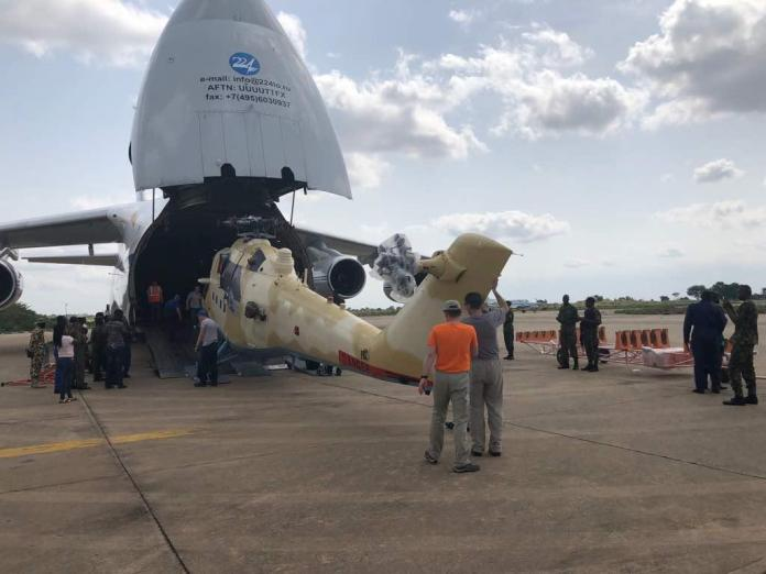 The Nigerian Air Force, NAF, took delivery of two Mi-35M helicopter gunships from Russia on Monday, April 30, 2018