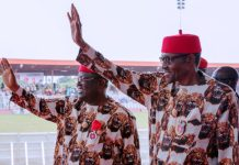 President Muhammadu Buhari with governor of Ebonyi State Dave Umahi