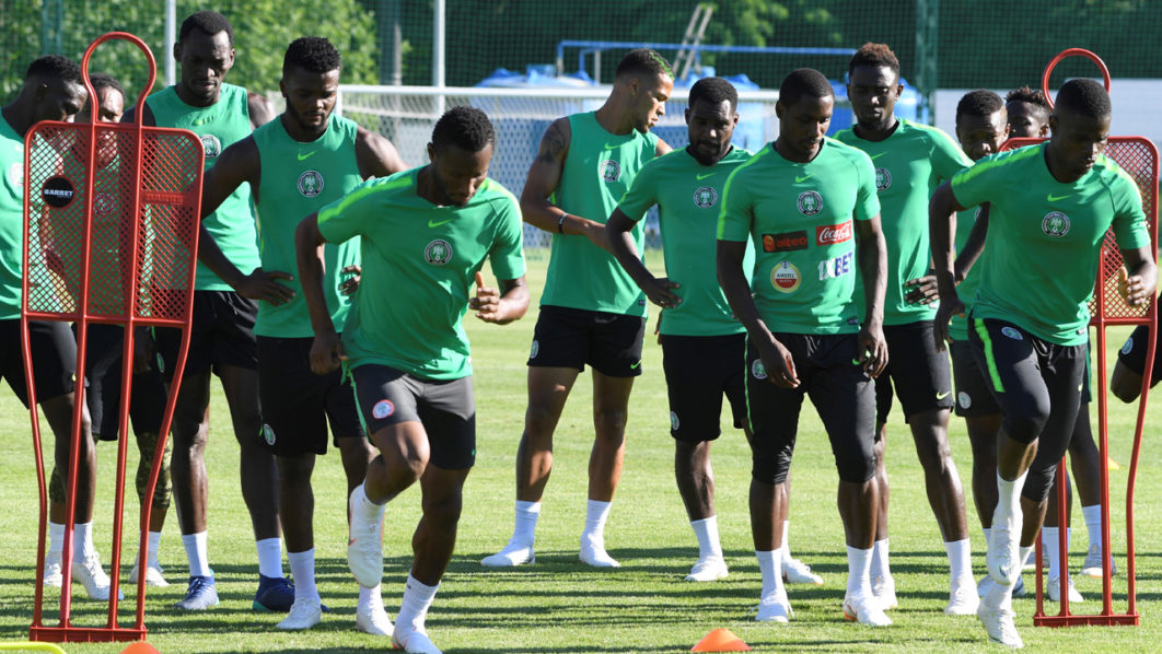 bca9aaaa6 Nigeria s players attend a training session at Essentuki Arena in southern  Russia on June 20