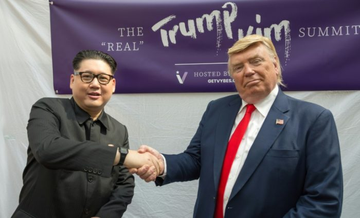 Kim and Trump lookalikes hold mock summit ahead of the real one on Tuesday