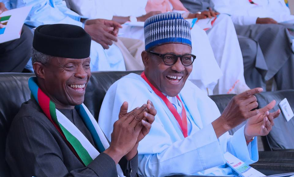President Muhammadu Buhari and Vice President Yemi Osinbajo at the national convention of the ruling APC in Abuja on Saturday, June 23, 2018