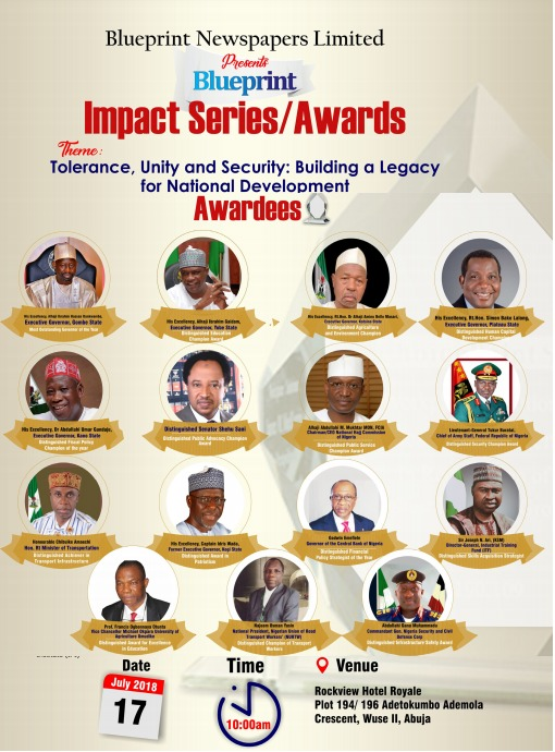 Blueprint awards ganduje dankwambo emefiele amaechi others for blueprint seriesimpact awards 2018 malvernweather Images