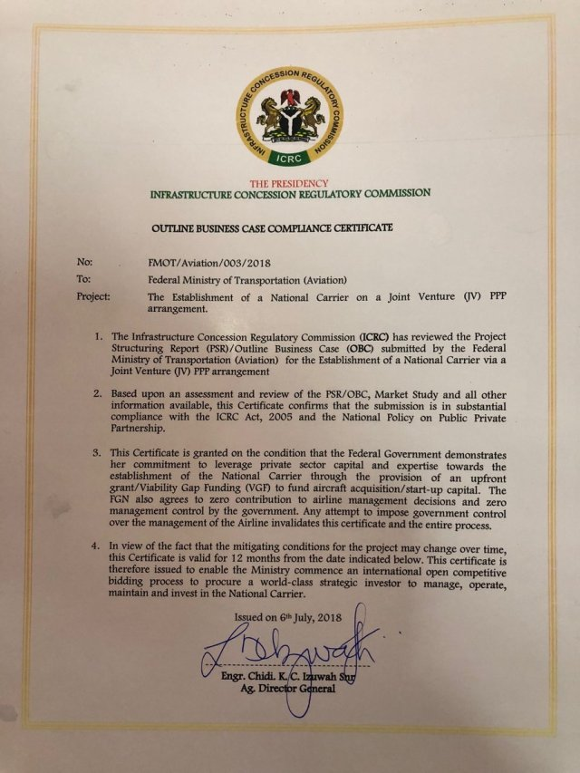 The Outline Business Case Certificate issued by the ICRC for the National Carrier