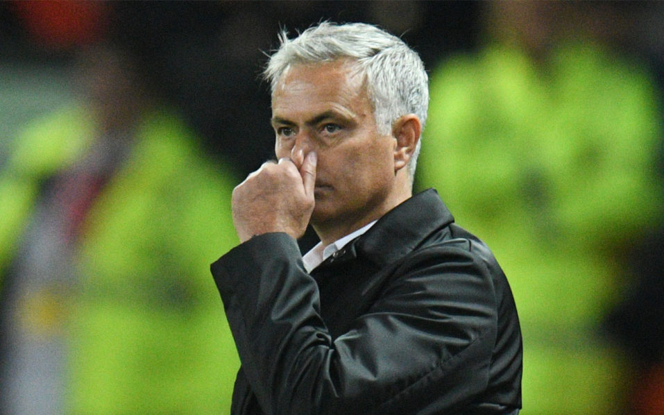 Manchester United's Portuguese manager Jose Mourinho gestures from the touchline after the final whistle in the English Premier League football match between Manchester United and Tottenham Hotspur at Old Trafford in Manchester, north west England, on August 27, 2018. / AFP PHOTO / Oli SCARFF /