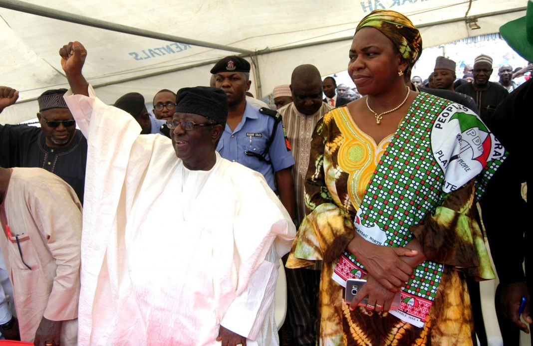 Former Governor of Plateau State, Sen Jonah Jang (L) with the Former Minister of Water Resources, Sarah Ochekpe, during Sen Jang's declaration for President under platform of PDP in Jos on Tuesday (28/8/18). 04674/28/8/2018/Sunday Adah/JAU/NAN/DAILY NIGERIAN
