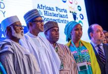 L-R- Former Head of State Abdulsalami Abubakar, President Muhammadu Buhari, Minister of Transport Rotimi Amaechi and managing director of NPA Hadiza Bala Usman at the first Regional Conference of International Africa Ports and Harbour, IAPH