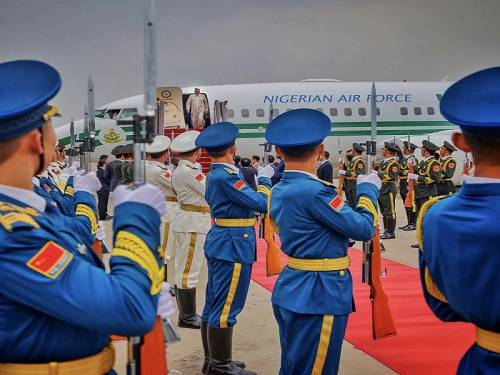 President Muhammadu Buhari arrives at Beijing, China