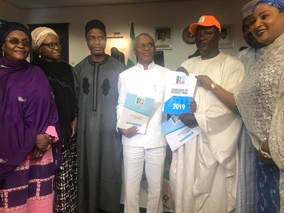 A group unionists, comprising IPMAN, PTD, NARTO, Sheikh Mahmud Gumi Market union and Katsina and Daura indigenes living in Kaduna State, on Monday presented APC expression of interest and nomination forms for governorship election to Kaduna State governor, Nasir El-Rufai.