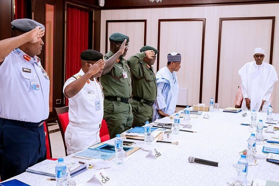 President Muhammadu Buhari meets service chiefs in Aso Rock
