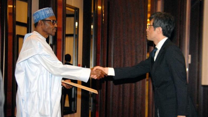 President Muhammadu Buhari receives letter of credence from Japan's new Ambassador to Nigeria , Mr. Sadanabu Kusaok at the Presidential villa, Abuja on July 2, 2015.