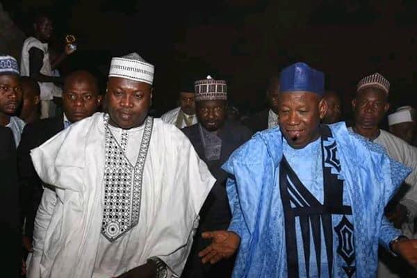 Kano State governor Abdullahi Ganduje (right) with Speaker Kano State House of Assembly, Kabiru Alhassan Rurum