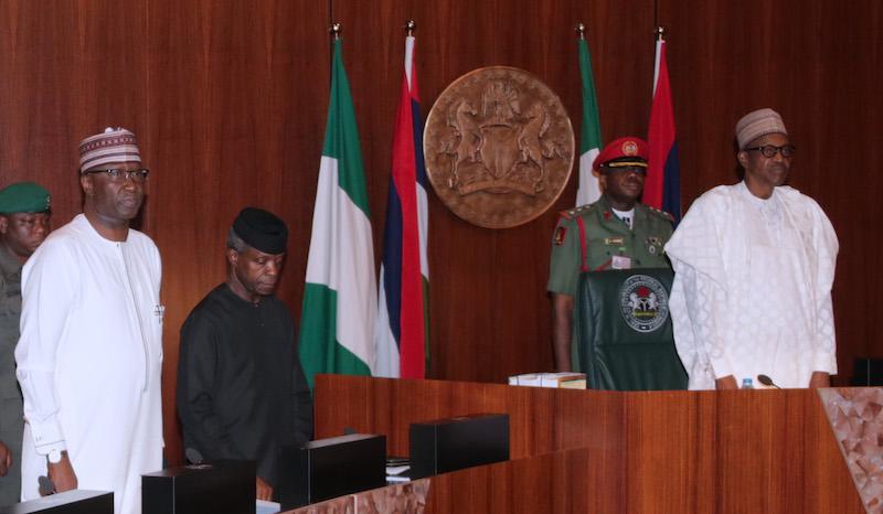 President Muhammadu Buhari at FEC meeting