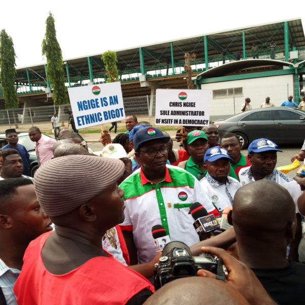 JUST IN: Thugs attack NLC protesters at Ngige's Abuja residence