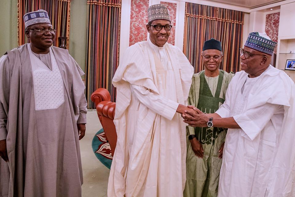 Senator Ahmed Lawan, President Muhammadu Buhari, Governor Nasir El-Rufai and Senator Danjuma Goje