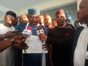 The Independent National Electoral Commission (INEC) on Tuesday (May 11, 2019) issued a former Governor of Imo, Rochas Okorocha, his Certificate of Return to the Senate.