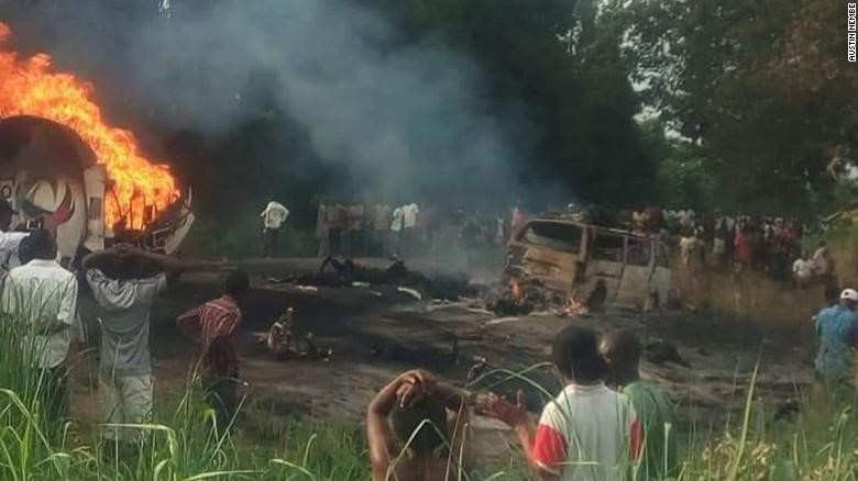 A scene of the accident where a fuel tanker trying to avoid a pothole overturned and exploded in Ahumbe village in Benue State, Nigeria on July 1st, 2019.