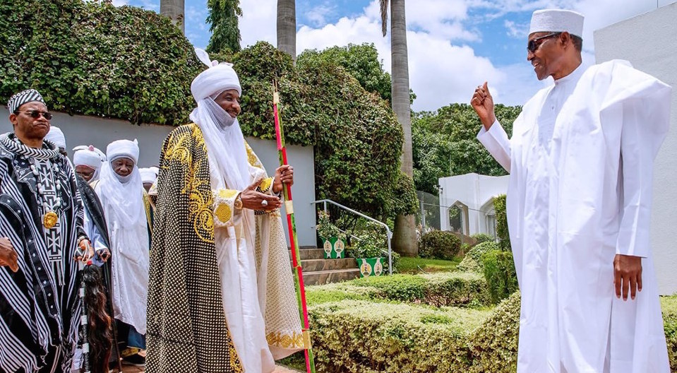 President Buhari with Emir of Kano H.H. Muhammadu Sanusi II as he receives in courtesy visit Traditional Leaders from the North in State House on Friday August 23, 2019.