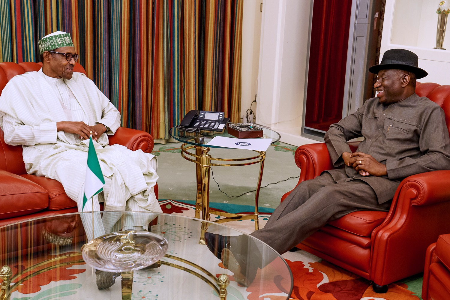 President Muhammadu Buhari received in audience Former President Goodluck Jonathan at the State House, Abuja on Thursday October 10, 2019
