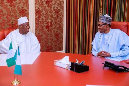 FILE PHOTO: President Muhammadu Buhari in a meeting with Governor Abdullahi Ganduje of Kano State.