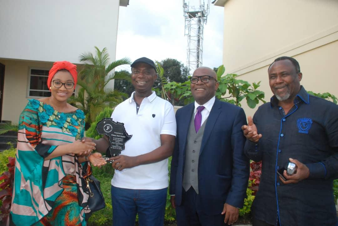 Caption: Jose Foundation Team: Oyiza Bello, Prince Ned Nwoko (second left and Award Recipient), Dr Martins Abhulimhen and Prince Solomon Etu, at the Award presentation to philanthropist, Prince Ned Nwoko in recognition of his commitment to sports development in Nigeria over the weekend in Abuja.