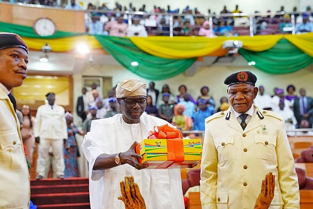 Lagos State Governor, Mr Babajide Sanwo-Olu while presenting proposed Year 2020 Budget to the State House of Assembly on Friday, Nov. 8, 2019.