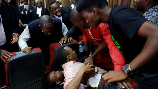 SSS dissociates self from courtroom fiasco, says Sowore's supporters 'mobbed him' inside court