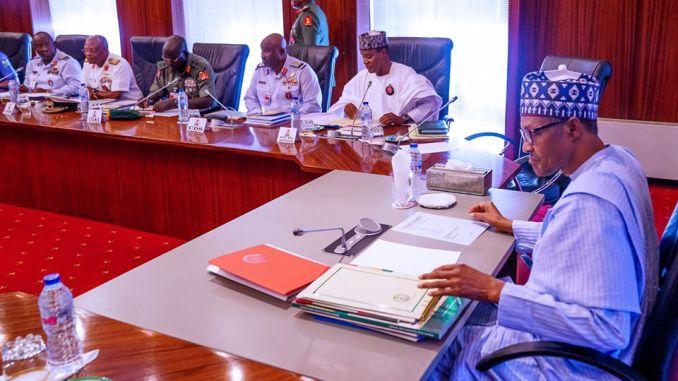 President Muhammadu Buhari in closed door meeting with service chiefs