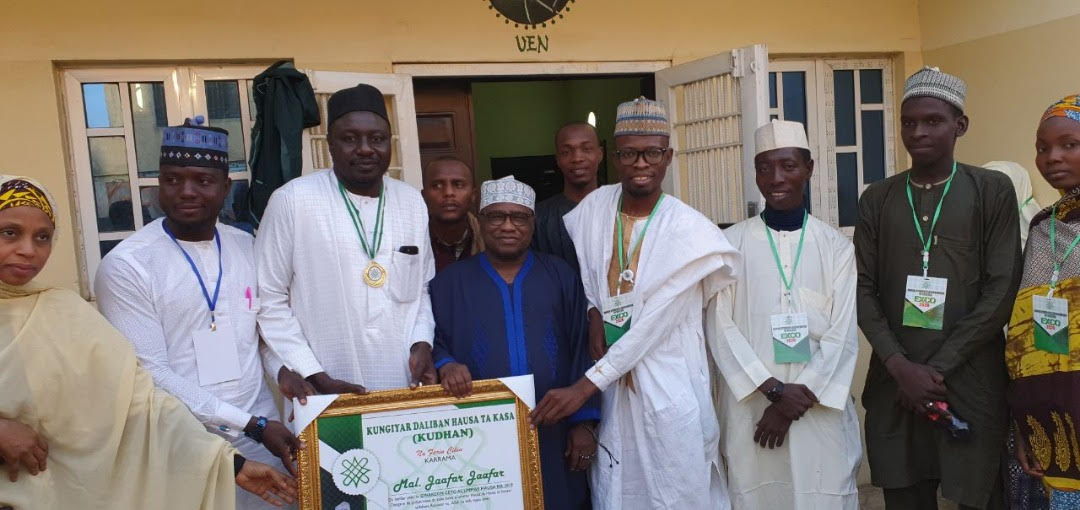 Jaafar Jaafar (3rd left) with Prof. Abdalla Uba Adamu of Virtually Ethnographics Networks (middle), Janbirji (4th right) and others during the short ceremony in Kano.