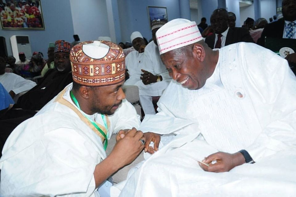 Governor Abdullahi Ganduje (right) with chairman Kano State Public Complaints and Anti-Corruption Commission, Muhuyi Magaji.