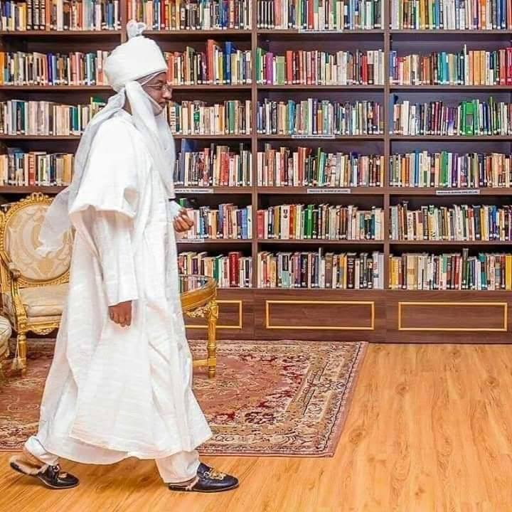 Former emir Muhammadu Sanusi II in his library at the palace