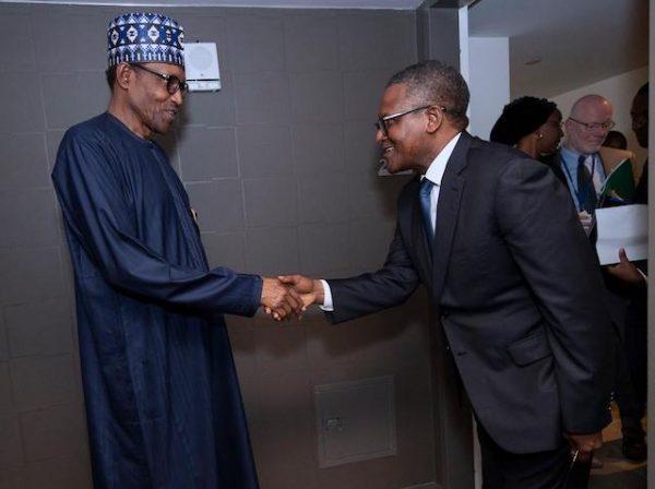 Buhari rejoices with Aliko Dangote at 63