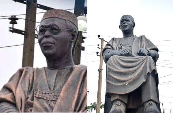 PHOTOS: Hoodlums 'loot' Obafemi Awolowo's eyeglasses on his statue