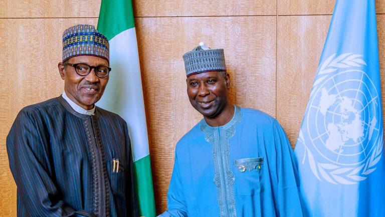 Buhari meets ex-UNGA74 President, Prof. Muhammad-Bande, at Aso Villa