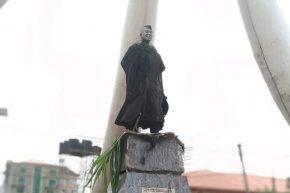 The charred statue of Dr Nnamdi Azikiwe