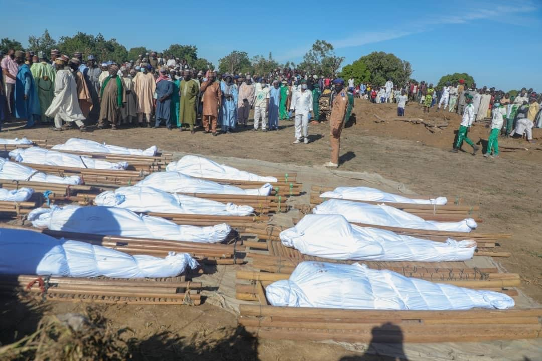 The funeral prayer for the victims of Boko Haram rice field attack in Borno