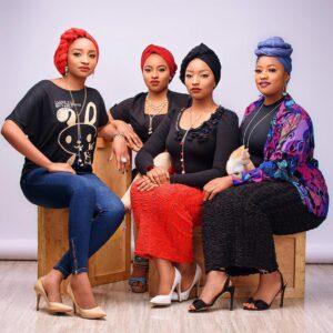 Rahama Sadau (first left) with her sisters Zainab, Aisha and Fatima