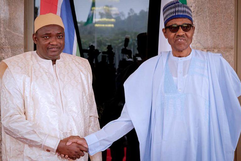 Buhari meets The Gambia President, Adama Barrow, at Aso Villa