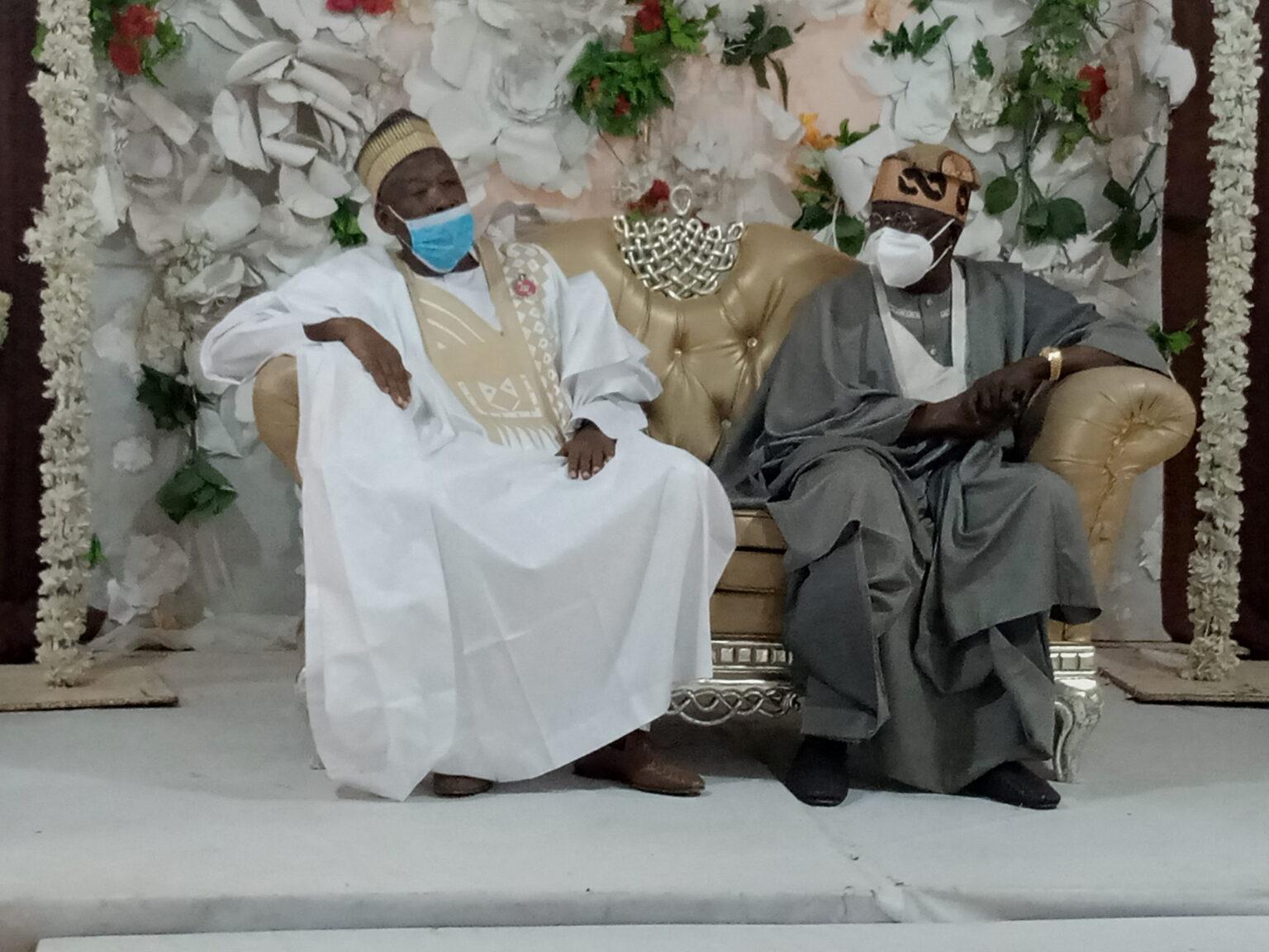 Governor Abdullahi Ganduje (left) with Asiwaju Bola Tinubu (right)