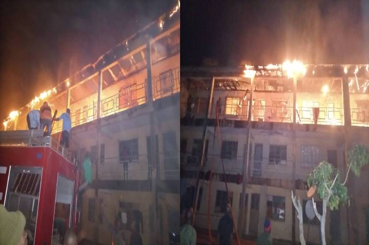 A fire incident at the Nigerian Army depot Zaria fire. Source: tvcnews
